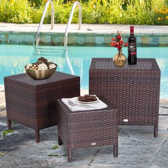 Outsunny 3 Pcs Rattan Nesting Tables Set-Brown
