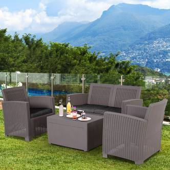 Outsunny 4-Seater Outdoor Garden PP Rattan Effect Furniture Set w/ Cushion Grey