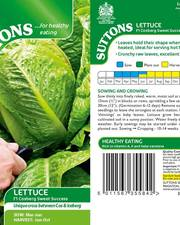 Suttons Lettuce Seeds F1 Cosberg Sweet Success