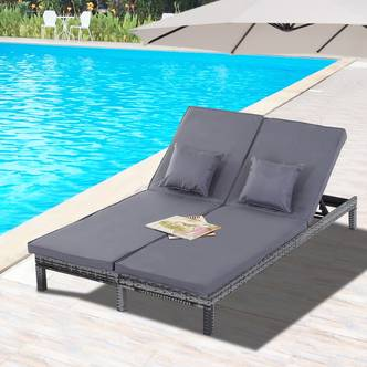 Outsunny 2 Person Rattan Lounger Adjustable Double Chaise Chair Loveseat w/ Cushion Grey