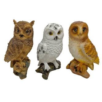 Set 3 Owl Bird Garden Ornaments