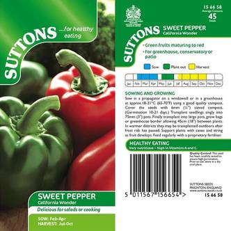 Suttons Sweet Pepper Seeds California Wonder