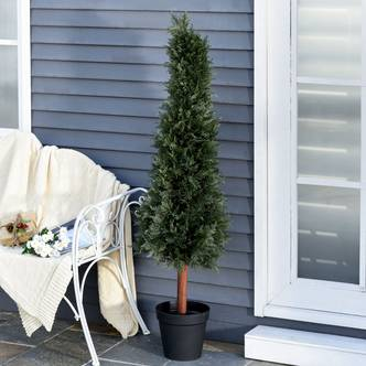 Outsunny Set of 2 Artificial Pine Trees