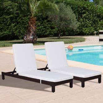 Outsunny 2 Pcs Rattan Sun Lounger Set, Steel Frame-Brown/Cream White