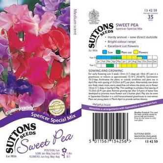 Suttons Sweet Pea Seeds Spencer Special Mix