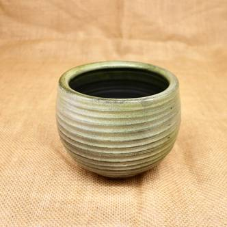 Glazed Green Ridged Bowl Ceramic Planter (D10cm x H8cm)