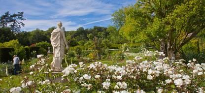 A statue of a flower garden