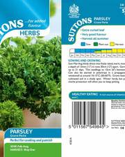 Suttons Parsley Herb Seeds Grune Perle