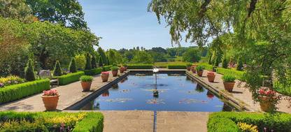 A garden with water in the background