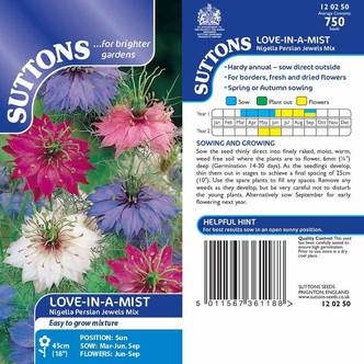 Suttons Love In A Mist Seeds Nigella Persian Jewels Mix