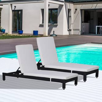 Outsunny 2 Pcs Rattan Sun Lounger Set, Steel Frame-Black/Cream White