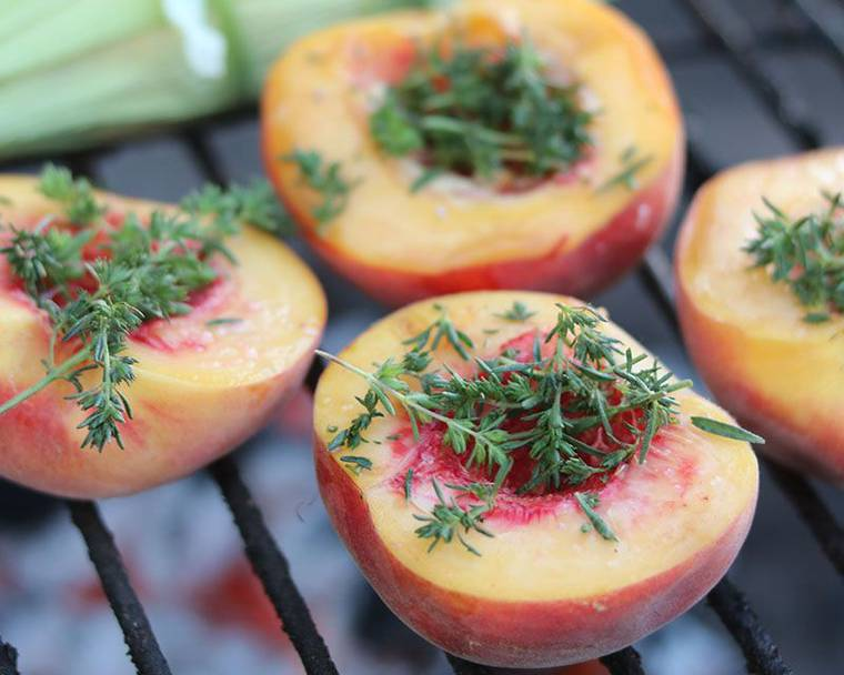 Peaches sprinkled with Summer Savory