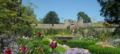 A close up of the walled flower garden at Bishop