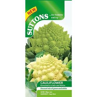 Suttons Cauliflower Seeds Romanesco Green and White