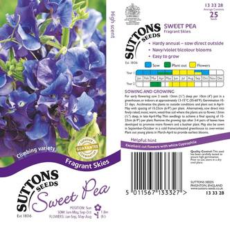 Suttons Sweet Pea Seeds Fragrant Skies