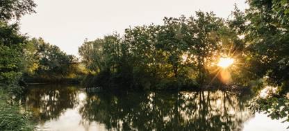 Sunset reflecting on lake