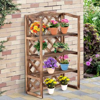 Outsunny 3-Tier Fir Wood Flower Stand