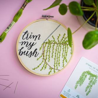 Trim My Bush, Tongue In Cheek, Modern Embroidery Kit!