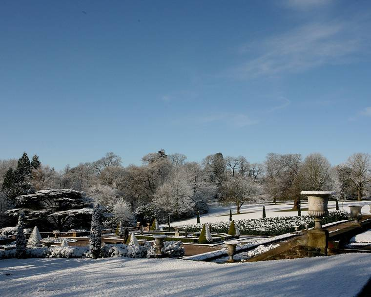 Italian Garden in snow, Tatton Park