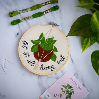 Let it all hang out, tongue in cheek, modern embroidery kit!