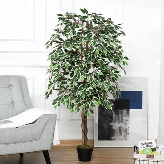 Outsunny Artificial Ficus Tree Potted