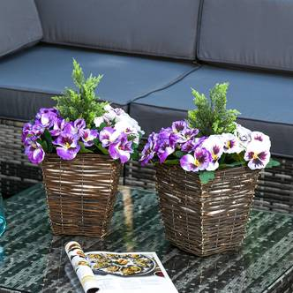 Outsunny Set Of 2 Artificial Phalaenopsis Plant
