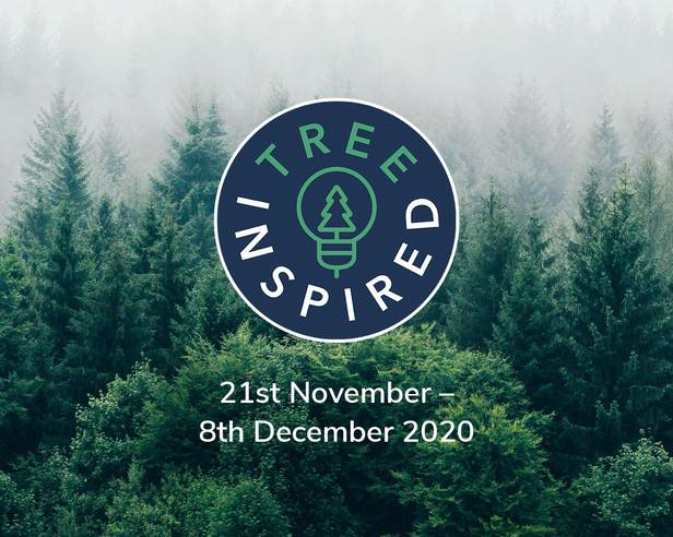 Tree Inspired (21st November – 8th December 2020) logo over a misty forest