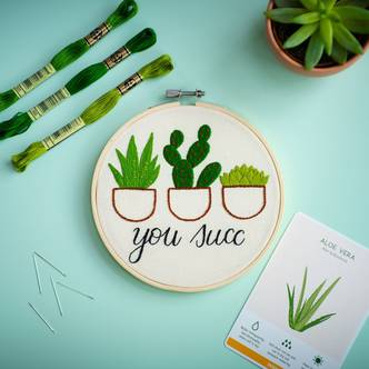 You Succ, Tongue in cheek, Modern Embroidery Kit!