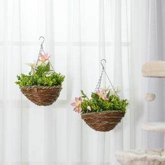 Outsunny 2 PCs Artificial Clematis Flower Hanging Planter