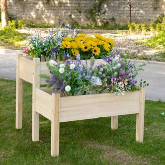 Outsunny 2-Piece Solid Fir Wood Plant Raised Bed Garden