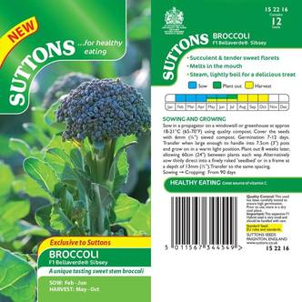 Suttons Broccoli Seeds F1 Bellaverde Sibsey