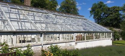 A glasshouse at Cringletie Garden