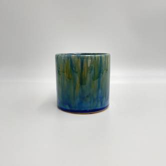 Starry Night Blue-Yellow Planter, D12 cm