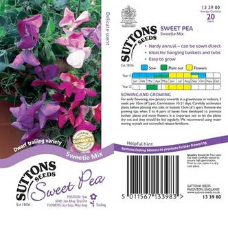 Suttons Sweet Pea Seeds Sweetie Mix