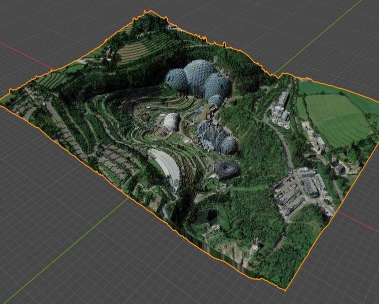 The resulting 3D model of the Eden Project