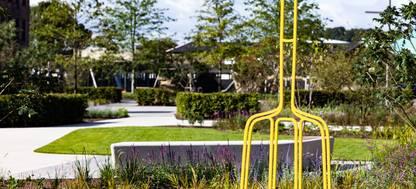 A yellow sculpture in the Hepworth Wakefield Garden