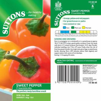 Suttons Sweet Pepper Seeds F1 Snackbite Mix