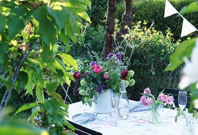 Decorated table in a garden